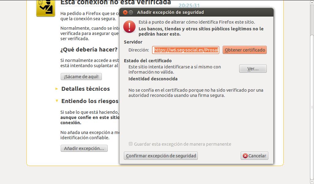 Excepción de Seguridad en Firefox